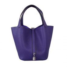 Hermès(爱马仕)Picotin菜篮 梦幻紫 togo 22cm 银扣