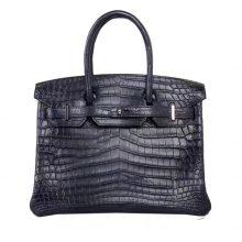 Hermès(爱马仕)Birkin 深海蓝 雾面鳄鱼 银扣 30cm