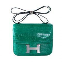 Hermès(爱马仕)Constace空姐包 银扣 6Q翡翠绿 亮面鳄鱼 19cm