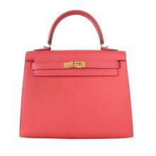 Hermès(爱马仕)Kelly 凯莉包 T5斋普尔粉 原厂御用顶级Epsom 皮 金扣 28cm