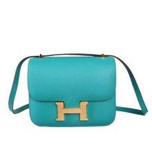 Hermès(爱马仕)Constace空姐包 孔雀蓝 原厂御用epsom 金扣 19cm