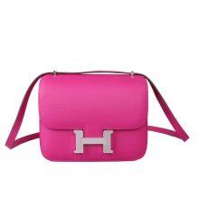 Hermès(爱马仕)Constace空姐包 玉兰粉 原厂御用epsom 银扣 19cm