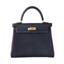 Hermès(爱马仕)Kelly凯莉包 黑金 山羊皮 拼中国红龙骨 25cm