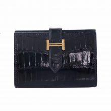 Hermès(爱马仕)Bearn 小H扣 短款钱夹 黑色 亮面 鳄鱼 金扣