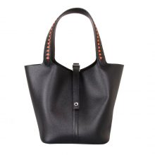 Hermès(爱马仕)Picotin菜篮包 黑色 编织手柄 epsom皮 银扣 22cm