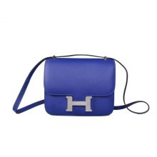 Hermès(爱马仕)Constace空姐包 电光蓝 epsom皮 银扣 19cm