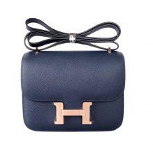 Hermès(爱马仕)Constace空姐包 19 玫瑰金扣 深海蓝 epsom皮