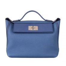Hermès(爱马仕)Kelly2424 玛瑙蓝 原厂御用顶级小牛皮拼Swift皮 Togo 银扣 29cm