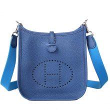 Hermès(爱马仕)mini evelyne 布莱顿蓝 银扣 togo 17cm