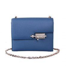 Hermès(爱马仕)Verrou锁链包插销包 玛瑙蓝 原厂御用Epsom 银扣 17cm