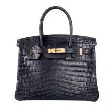 Hermès(爱马仕)birkin铂金包 深海蓝 哑光鳄鱼 金扣 30cm