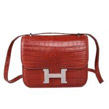 Hermès(爱马仕)Constance空姐包 珊瑚红 哑光鳄鱼 银扣 23cm