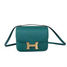 Hermès(爱马仕)Constace空姐包 孔雀绿内拼太阳黄 原厂御用epsom皮 金扣 19cm