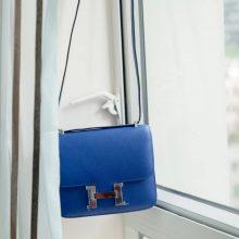 Hermès(爱马仕)Constace空姐包 电光蓝 原厂御用epsom皮 银扣 19cm
