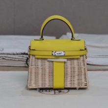 Hermès(爱马仕)Kelly picnic mini 柠檬黄 野餐包 藤条编织 22cm