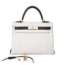 Hermès(爱马仕)Kelly 凯莉包 熊猫色 黑色+白色 金扣 客户想预定