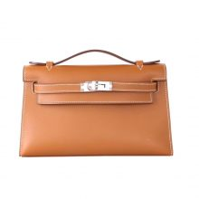 Hermès(爱马仕)mini kelly 一代 22cm 银扣 金棕色 Swift皮