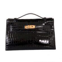 Hermès(爱马仕)mini kelly 一代 22cm 黑色 亮面鳄鱼 金扣