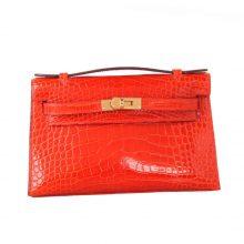 Hermès(爱马仕)mini kelly 一代 22cm 火焰橙 亮面鳄鱼 金扣