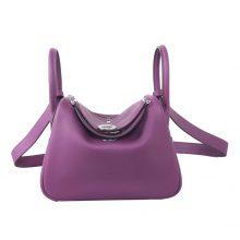 Hermès(爱马仕)mini lindy 迷你 琳迪包 海葵紫 swift皮 银扣 20cm