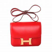 Hermès(爱马仕)Constance 空姐包 S5番茄红 box皮 金扣 19cm