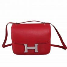 Hermès(爱马仕)Constance 空姐包 Q5国旗红 swift皮 银扣 19cm