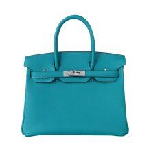 Hermès(爱马仕)birkin 铂金包 孔雀蓝 Togo 银扣 30cm