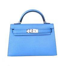 Hermès(爱马仕)mini Kelly 迷你凯莉 天堂蓝 银扣 羊皮 2代