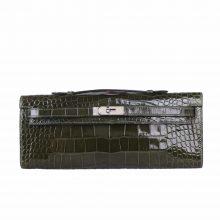 Hermès(爱马仕)Kelly cut 31银 橄榄绿 亮面鳄鱼