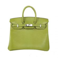 Hermès(爱马仕)birkin 奇异果绿 蜥蜴皮 银扣 25cm