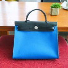Hermès(爱马仕)herbag 31cm 黑拼蓝色 帆布