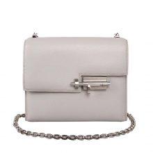 Hermès(爱马仕)Verrou 锁链包 珍珠灰 羊皮 银扣 17cm