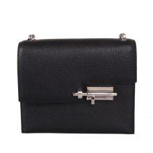 Hermès(爱马仕)Verrou锁链包 黑色 羊皮 银扣 17cm