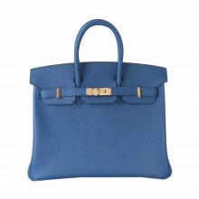 Hermès(爱马仕)Birkin 铂金包 7C珊瑚蓝  epsom皮 金扣 25cm