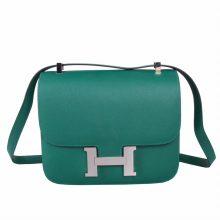 Hermès(爱马仕)Constace 空姐包 孔雀绿 epsom皮 银扣 23cm