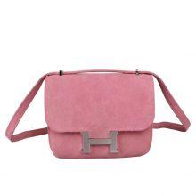 Hermès(爱马仕)Constace 空姐包 粉色 麂皮 银扣