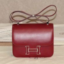 Hermès(爱马仕)Constace 空姐包 酒红色 BOX皮