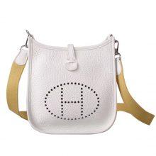Hermès(爱马仕)evelyne 伊芙琳 白色 togo 银扣 17cm