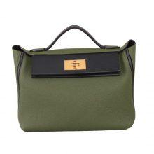 Hermès(爱马仕)Kelly 2424 军绿色拼黑色 Togo 银扣 29CM