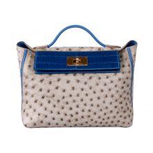 Hermès(爱马仕)Kelly 2424 斑鸠灰 鸵鸟拼电光蓝 鳄鱼 金扣 29cm