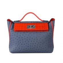 Hermès(爱马仕)Kelly 2424  玛瑙蓝鸵鸟拼法拉利红鳄鱼 银扣 29cm