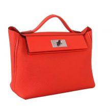 Hermès(爱马仕)Kelly 2424 橘红色 Togo 银扣 29cm