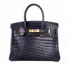Hermès(爱马仕)Birkin 海蓝 雾面鳄鱼 金扣 30cm