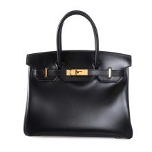 Hermès(爱马仕)Birkin 铂金包  黑色 box皮 金扣 30cm