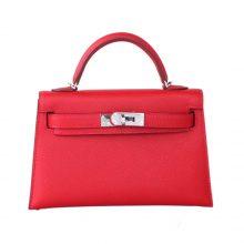 Hermès(爱马仕)mini Kelly 迷你凯莉 Q5国旗红 epsom皮 2代 银扣 20cm