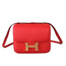 Hermès(爱马仕)Constance 空姐包 S5 番茄红 epsom皮 金扣 19cm