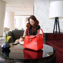Hermès(爱马仕)Lindy 琳迪包 中国红 编织肩带 swift皮 银扣 26cm