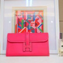 Hermès(爱马仕)JIGE 手包 22cm 糖果粉 EPSOM皮