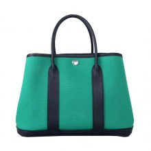 Hermès(爱马仕)garden party 花园包 30CM 黑色togo拼丝绒绿帆布