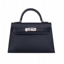 Hermès(爱马仕)miniKelly 迷你凯莉 2代 黑色 Epsom皮 银扣 20cm